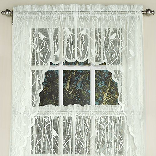 Sweet Home Collection Kitchen Window Tier, Swag, or Valance Curtain Treatment in Stylish and Unique Patterns and Designs for All Home Décor, Songbird Ivory