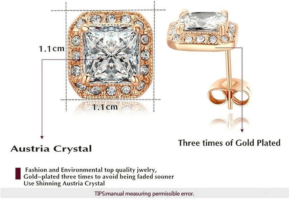 Yoursfs dormeuses plaqu/é or Drop Geometric-shaped Cristal carr/é Dormeuses Dangle Boucles doreilles pour femme Plaqu/é or blanc 18 ct Rose//mari/ée Bijoux tendance