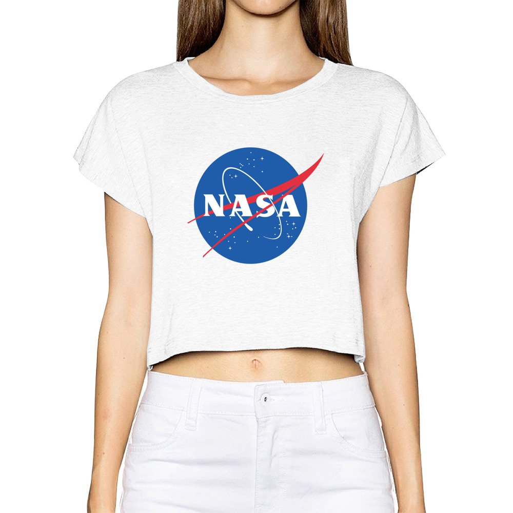 Official Ladies NASA USA America Cropped T Shirt Size Small