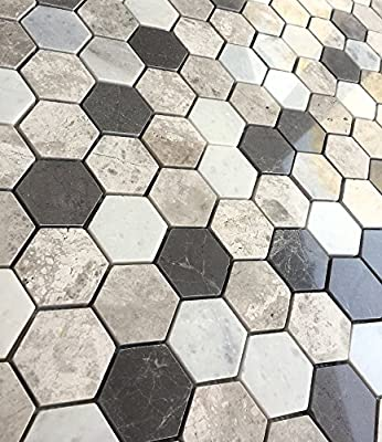 "Carrara Silver Mix 2"" Hexagon Marble Mosaic Tile Backsplash Wall Floor"