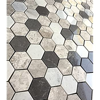 Carrara Silver Mix 2 Quot Hexagon Marble Mosaic Tile