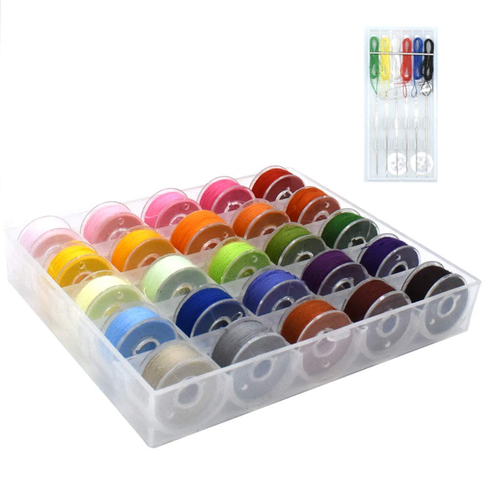 Renashed 25 color Sewing Thread Needles Set Machine Bobbins and Assorted Colors for Brother/ Babylock/ Janome/ Kenmore/ Singer