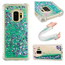 Galaxy S9 Liquid Case,Galaxy S9 Floating Case,Leecase Luxury Beauty Bling Shiny Sparkle Glitter Cover Green Purple Love Heart Quicksand Flowing Creative Design Crystal Transparent Clear Plastic Soft TPU Protective Shock Proof Shell Case Cover Bumper for Samsung Galaxy S9 + 1 x Free Black Stylus