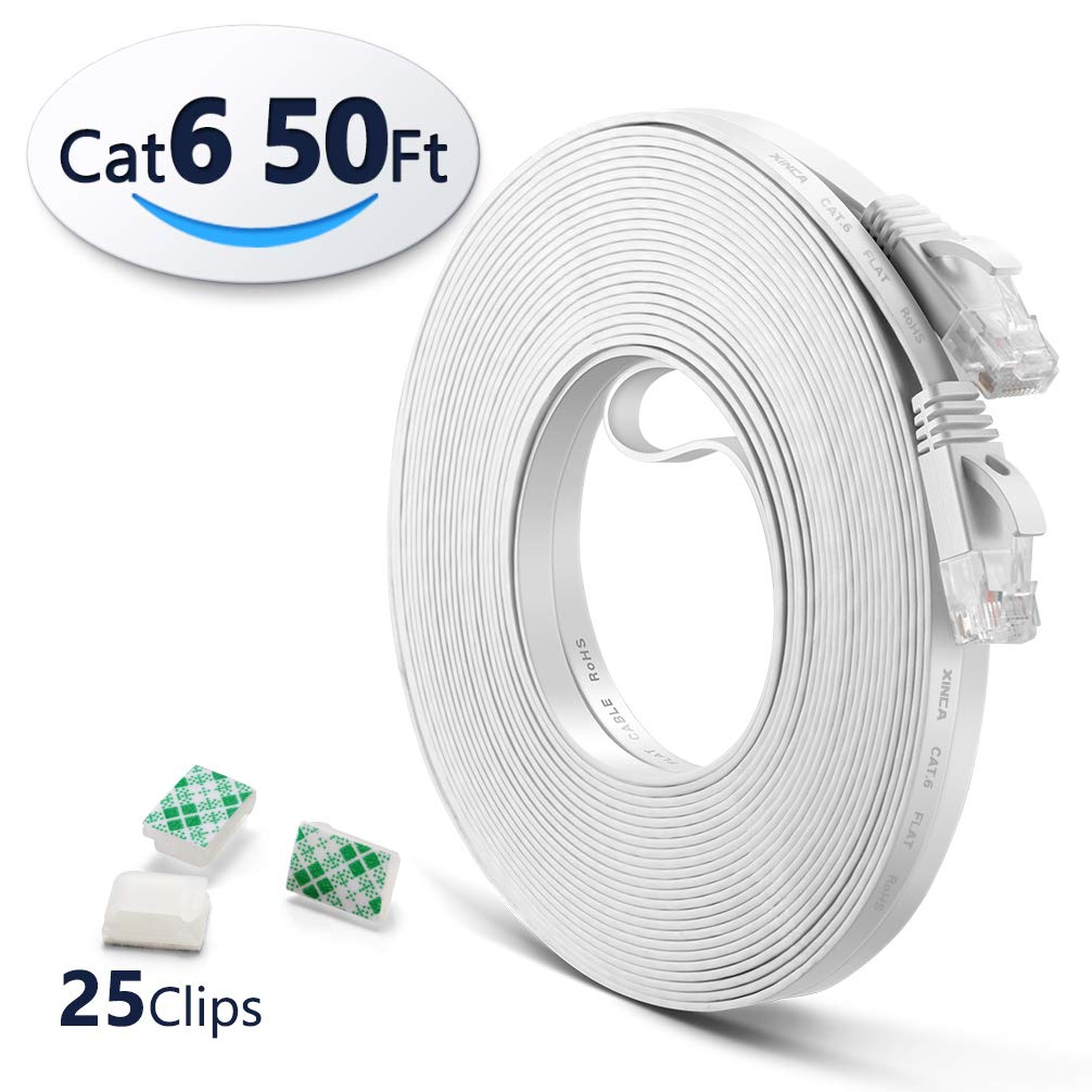 Cat6 Ethernet Cable 50ft White with 25 pcs Cable Clips, LAN Cable-XINCA Network Cable with Snagless Rj45 Connectors - 50 feet White(15.2 Meters)