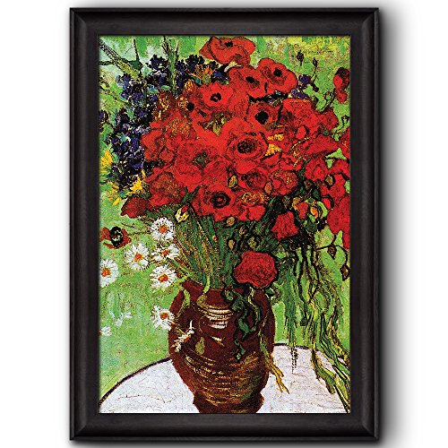 Red Poppies and Daisies by Vincent Van Gogh Oil Painting Impressionist Artist Framed Art