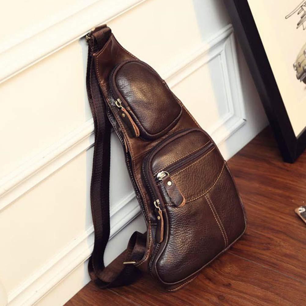 Jocestyle Vintage Genuine Leather Chest Bag Shoulder Messenger Crossbody Pack