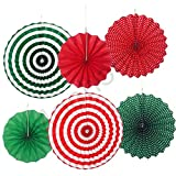 Hanging Paper Fans Set,Colorful Christmas Round Pattern/Paper Garlands for Party/Wedding/Birthday/Festival/Christmas/Event and Home Decor 6pc/Set