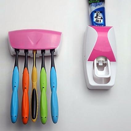 M. forma automática dispensador de pasta de dientes y cepillo de dientes 5 Set Soporte