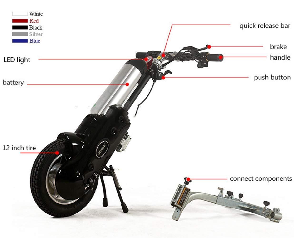 ZYT Eléctrico Conectable Handcycle Silla De Ruedas,Silla De Ruedas 36V 400W con Neumáticos De 12