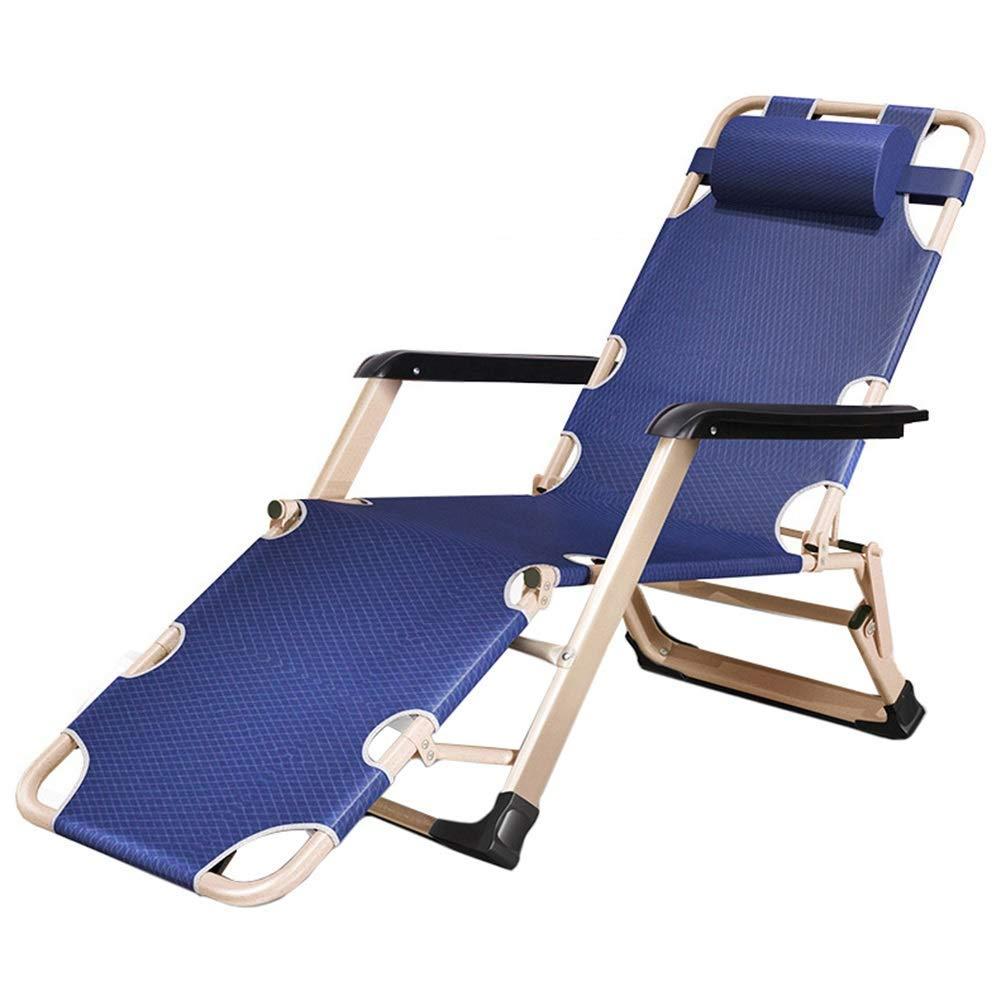 調節可能な無重力ラウンジチェアリクライニングチェア、スクエアチューブ脚&取り外し可能な枕、ネイビーブルー、サポート440ポンド B07SS1B3PB