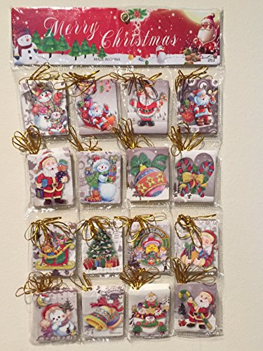 Christmas Gift Tags in Hanging Case with Gold String - 16 Styles - 8 Cards Per Style - 128 Christmas Cards for Gifts!