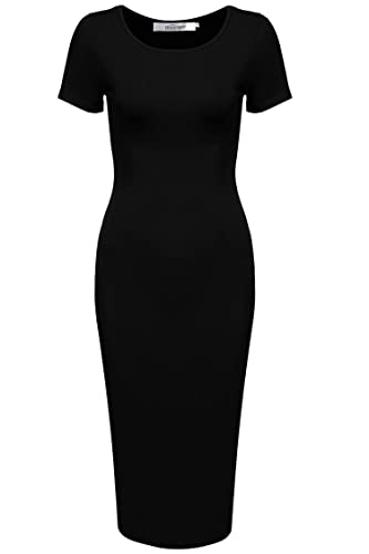 Meaneor Women's Sweetheart Short Sleeve Classic Slim Fit Sexy Midi Dress