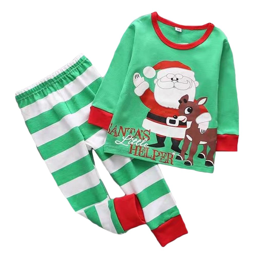 Kids Christmas Clothing Set - Cotton Long Sleeves Top + Pant Pajamas for Newborn Baby Boys Girls Xmas Nightwear Outfits 2pcs Set for 2-6 Years Old M171008SDSY-ka