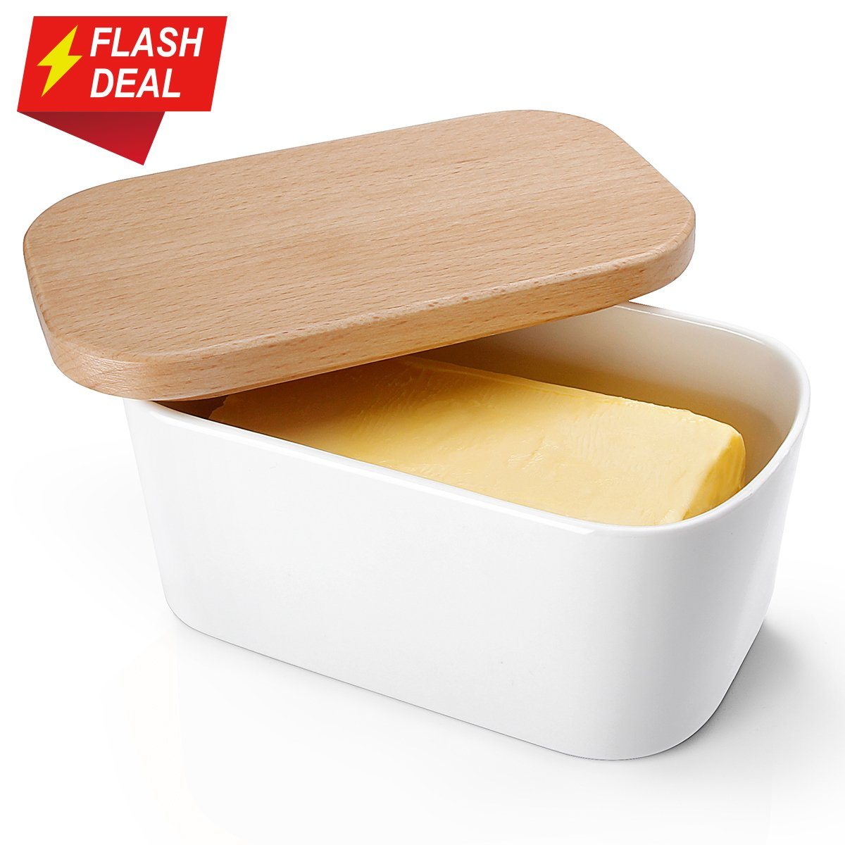 Sweese 3150 Butter Dish - Porcelain Keeper With Easy Clean Beech Wooden Lid, White