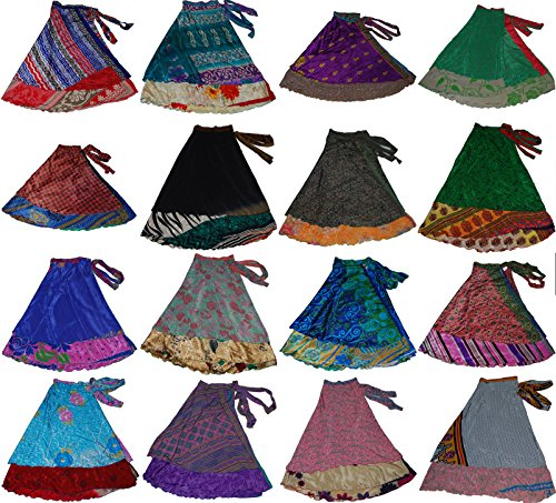 (Wevez Women's Short Length Plus Size Sari Art Silk Wrap 3 Skirts)
