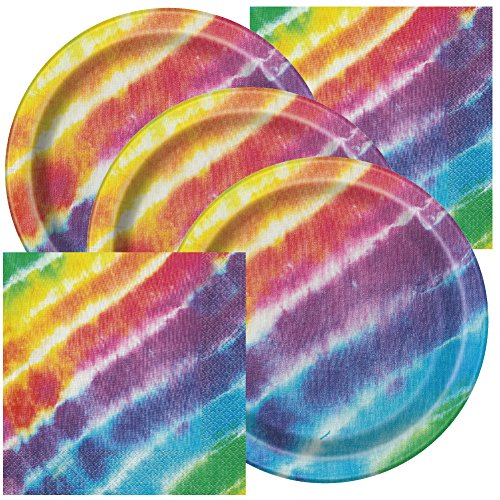 Tie Dye Themed Birthday Party Plates and Napkins (Serves 16) -