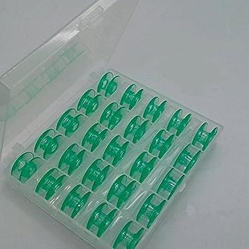 yeqin (TM) 25 verde bobinas en caja máquinas de coser Husqvarna VIKING, Muchos Modelos: Amazon.es: Hogar
