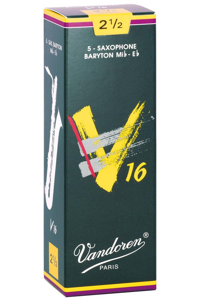 Vandoren SR7425 Baritone Sax V16 Strength 2.5, Box of 5 Reeds DANSR