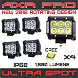 AXR No.1 4x 4'' 18W 2017 CREE LED Super Spot Work Lights for UTV SUV Off-Road Boats Jeeps RZR Driving Fog Light Rock and Bumper Light Comes with Dual Mounting Brackets (2 Pair)