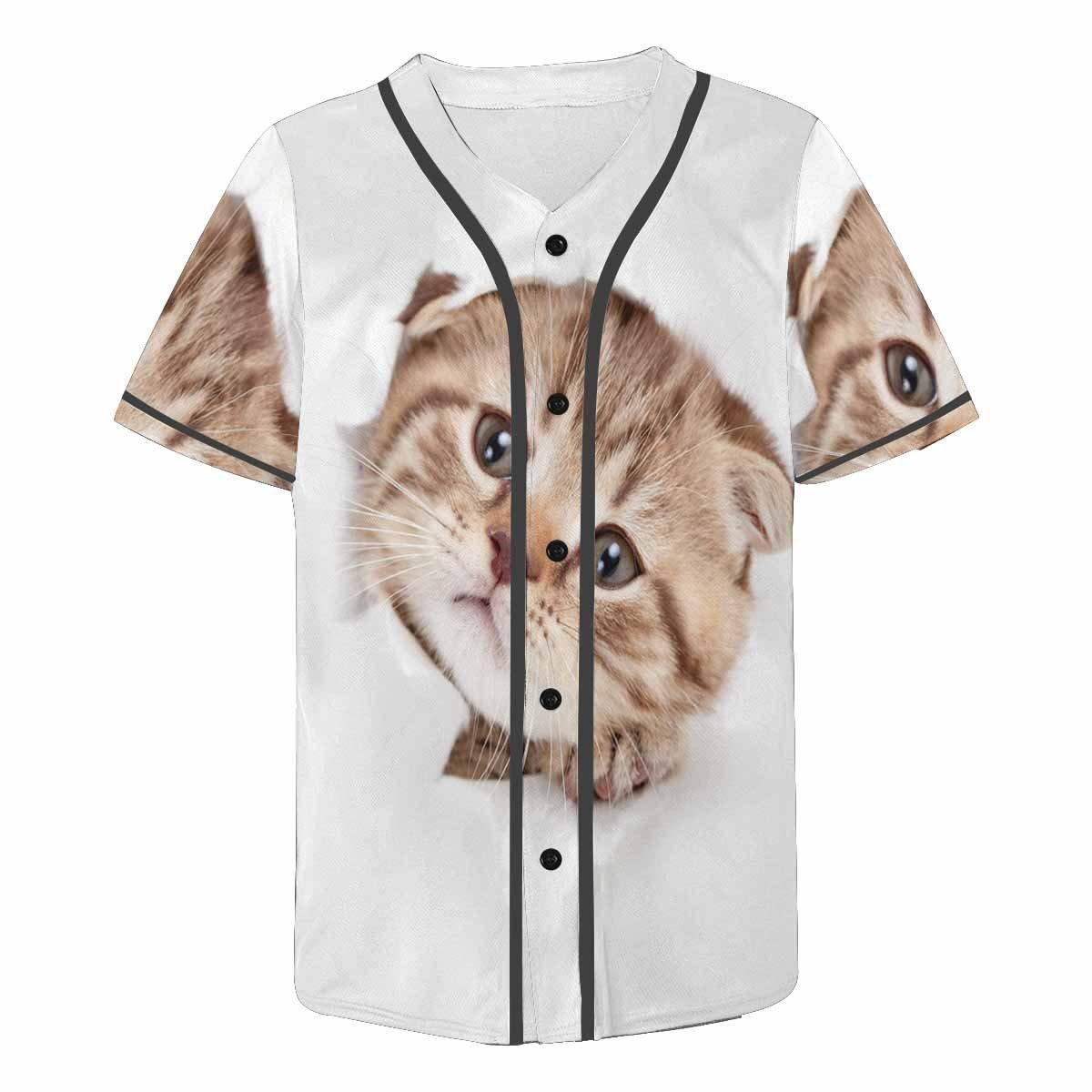 INTERESTPRINT Mens Button Down Baseball Jersey Funny Kitten