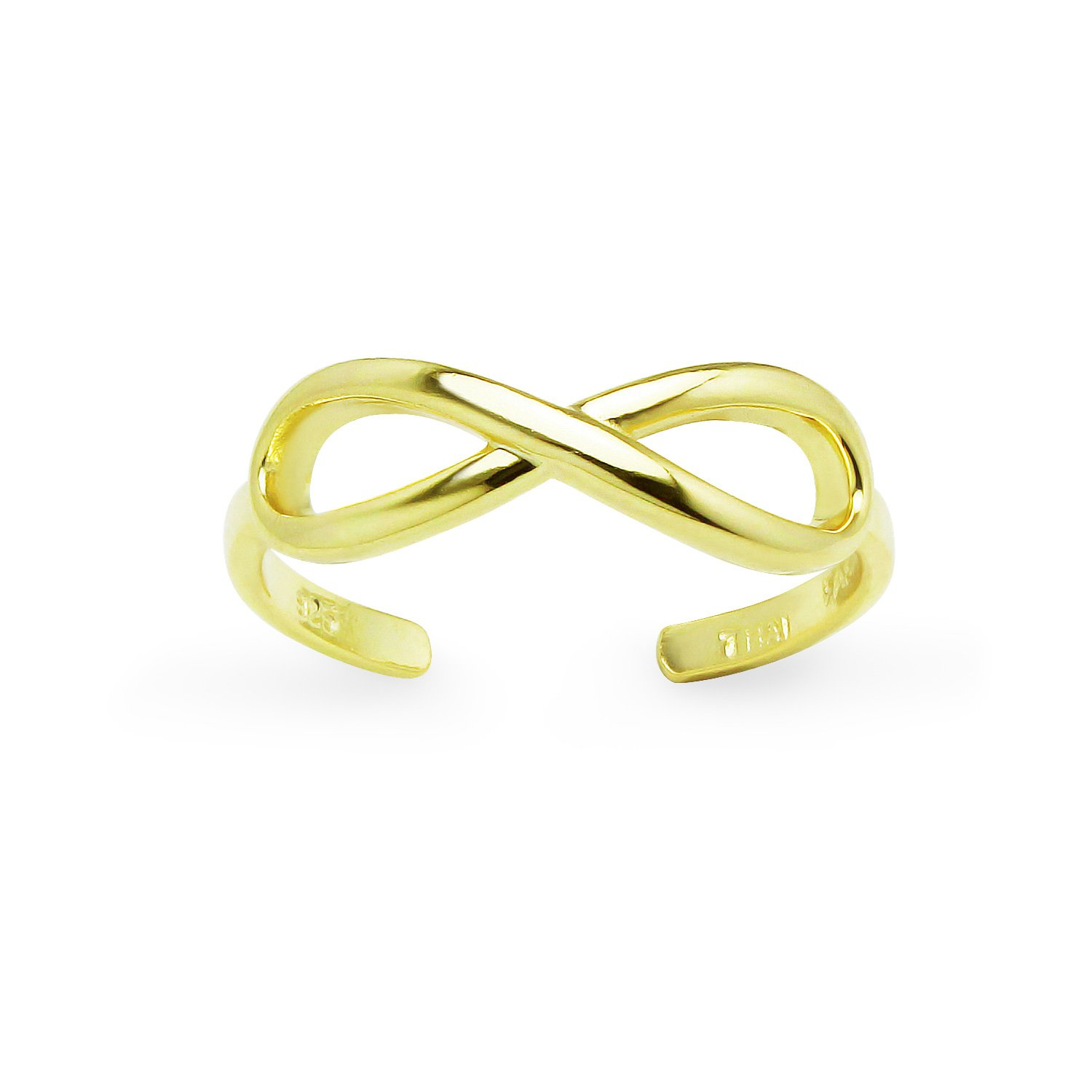 Yellow Gold Flashed Sterling Silver Polished Figure Eight Infinity Adjustable Toe Ring