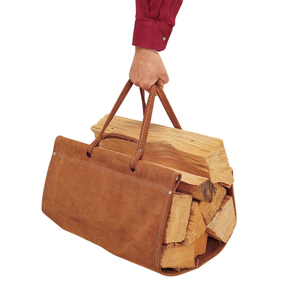 Pilgrim Home and Hearth 18501 Top Grain Wood Carriers