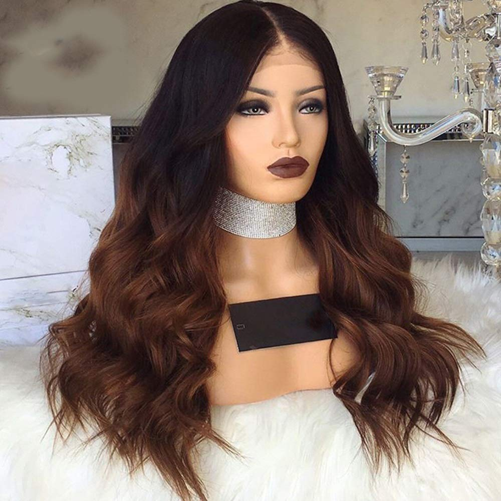 Long curly Wigs Cosplay Dark Brown Gradient In The Wave Roll Wig 26 Inches Synthetic Wig natural Wig with Free Wig Cap-Easy To Care 61p485od53L