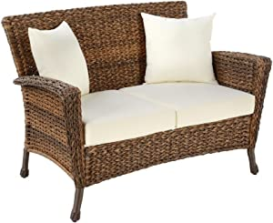 W Unlimited Rustic Collection Outdoor Furniture Light Brown Rattan Wicker Loveseat Sofa 2 Seater Garden Patio Furniture Conversation Set, Lounger Deep Seating Sectional Cushions