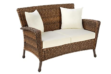 W Unlimited Rustic Collection Outdoor Furniture Light Brown Rattan Wicker  Loveseat Sofa 2 Seater Garden Patio
