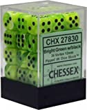 Chessex Dice d6 Sets: Vortex Bright Green with Black - 12mm Six Sided Die (36) Block of Dice (1-Pack)