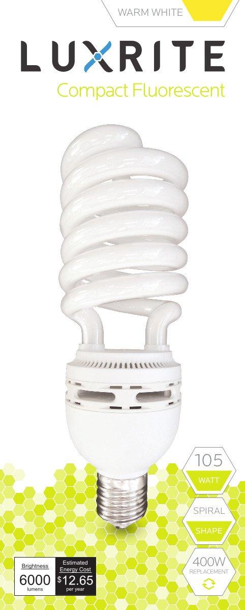 Luxrite LR20229 (12-Pack) 105-Watt High Wattage CFL Spiral Light Bulb, Equivalent To 400W Incandescent, Warm White 2700K, 6000 Lumens, E39 Mogul Base