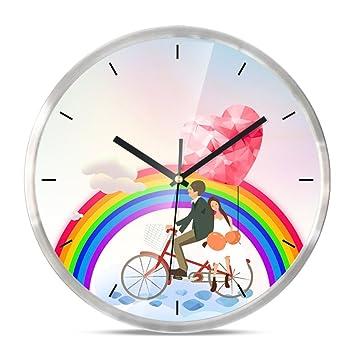 DIDIDD Romántico reloj de pared de dibujos animados moderno / reloj digital,F,12 pulgadas: Amazon.es: Hogar