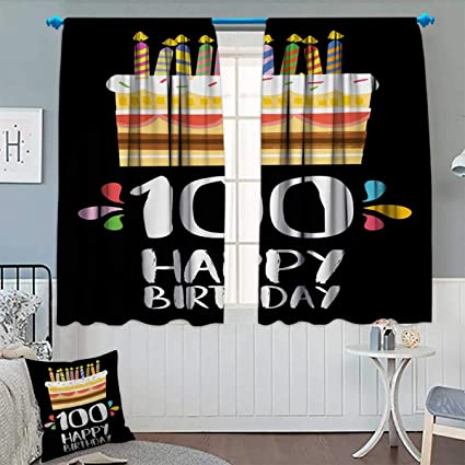 Anhounine 100th BirthdayBlackout CurtainOld Legacy 100 Birthday Party Cake Candles On Black