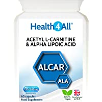 Health4All Acetyl L-Carnitine & Alpha Lipoic Acid 250/200mg 60 Capsules (V) | 100% VEGAN | Free UK Delivery | ALCAR ALA capsules