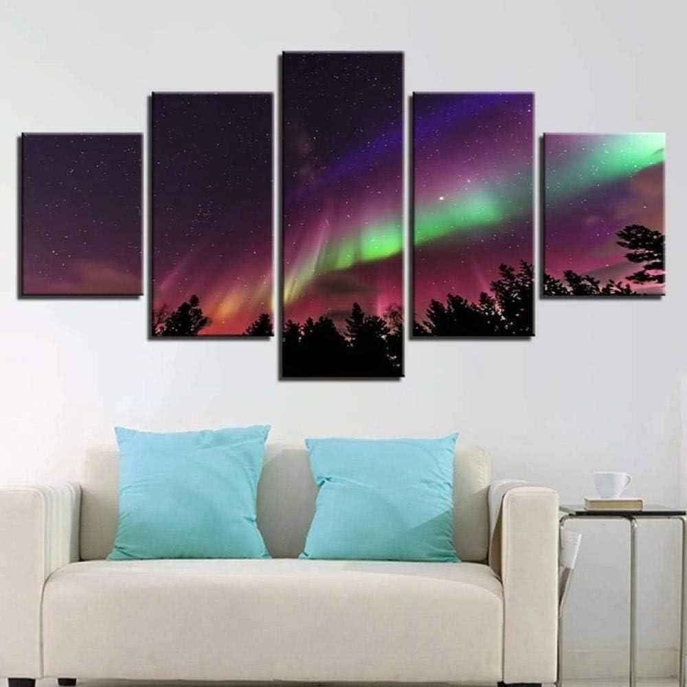 45Tdfc 5 Paneles Arte GráFica Pintura Pared Bosque Aurora ImáGenes para DecoracióN Moderna Hogar Mural Salon Dormitorio 150 * 80Cm Marco