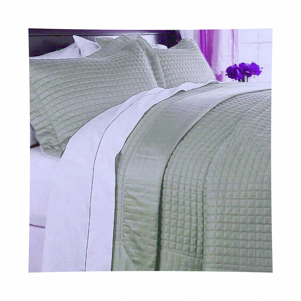 Coverlet and Shams Set Modern 3 Piece Full Queen Size Double Quilted Geometric Pattern Solid Sage Green Lightweight Reversible Hypoallergenic Wrinkle Free Soft Quilt Bedding