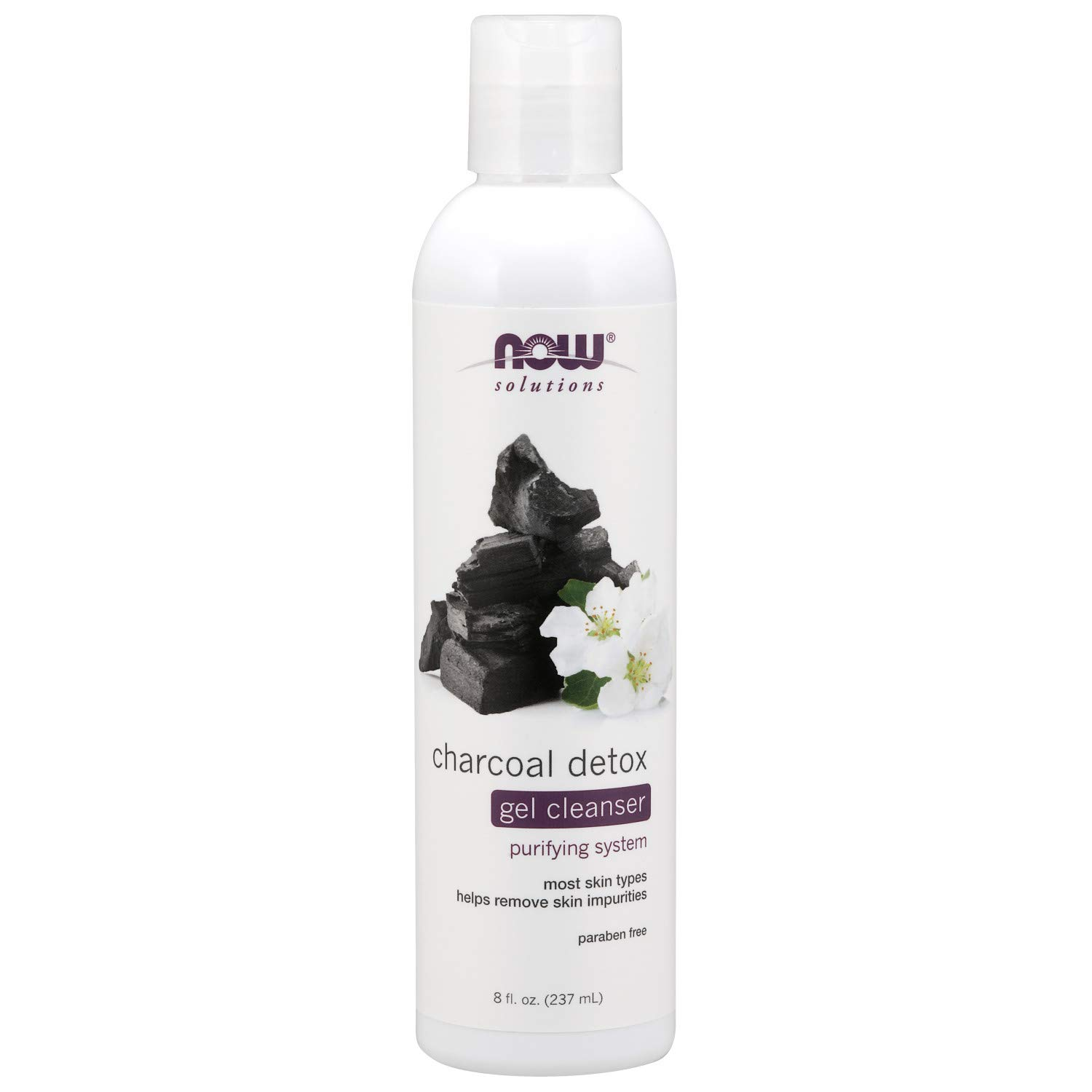 NOW Solutions, Charcoal Detox Gel Cleanser, Purifying System, for Most Skin Types, 8-Ounce