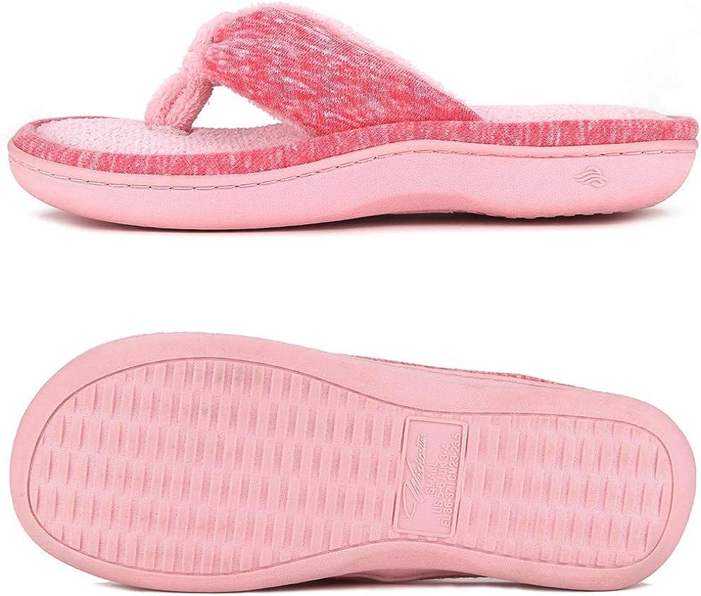 Wishcotton Womens Mens Memory Foam Spa Thong Slippers Cozy Nonslip Flip Flop Slippers