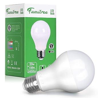 Famitree- Bombilla LED E27 20W equivalente a 150 W, 6500K,2452 ...