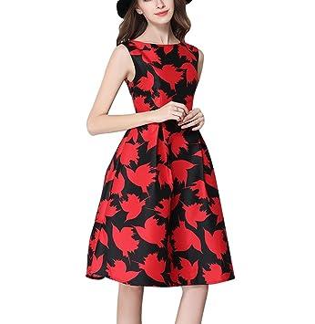 Mena UK Vendimia Años 50 Vestido con clase del Rockabilly Retro Patrón floral impreso Cóctel Vestidos