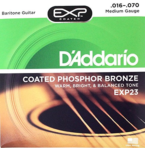 D'Addario EXP23x3 (3 sets) Acous Guit Strings, EXP Coated Phos/Brnz, Baritone Guitar (Exp Phos)