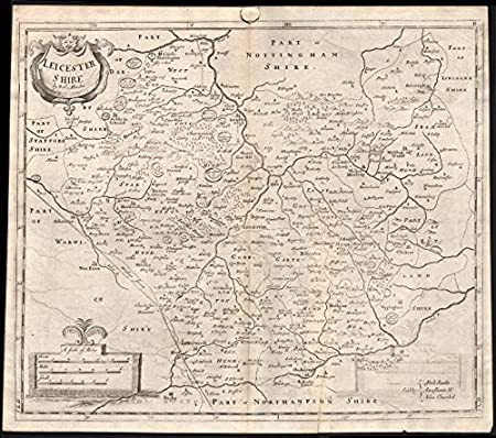 Leicestershire Uk Map.Leicestershire By Robert Morden From Camden S Britannia 1722