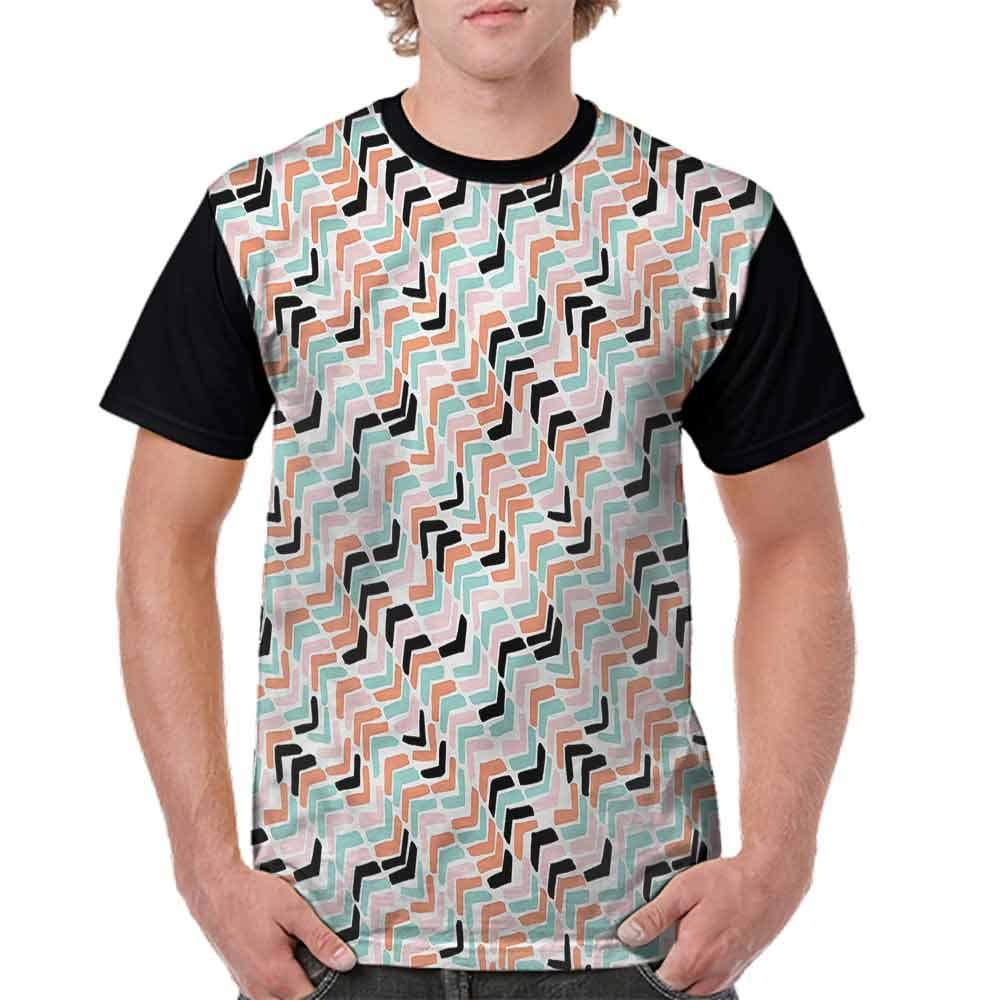 Round Neck T-Shirt,Zigzag Stripe Pastel Color Fashion Personality Customization