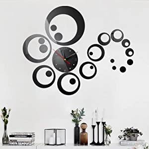 HOODDEAL Acrylic DIY Mirror Frameless Clock Wall Sticker Adhesive Art Wall Decoration Removable Circle Home Decor for Living-Room Kitchen (Black)