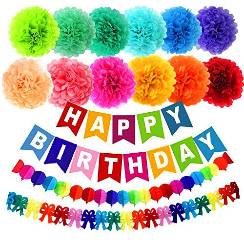 Moohome 15pcs Happy Birthday Decorations Banner with 10 Tissue Paper Pom Poms, Rainbow Paper Garlands for Birthday Party Decorations