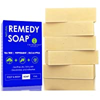 Remedy Natural Tea Tree Oil Soap Bar for Men/Women (Pack of 5) – w/Peppermint &...