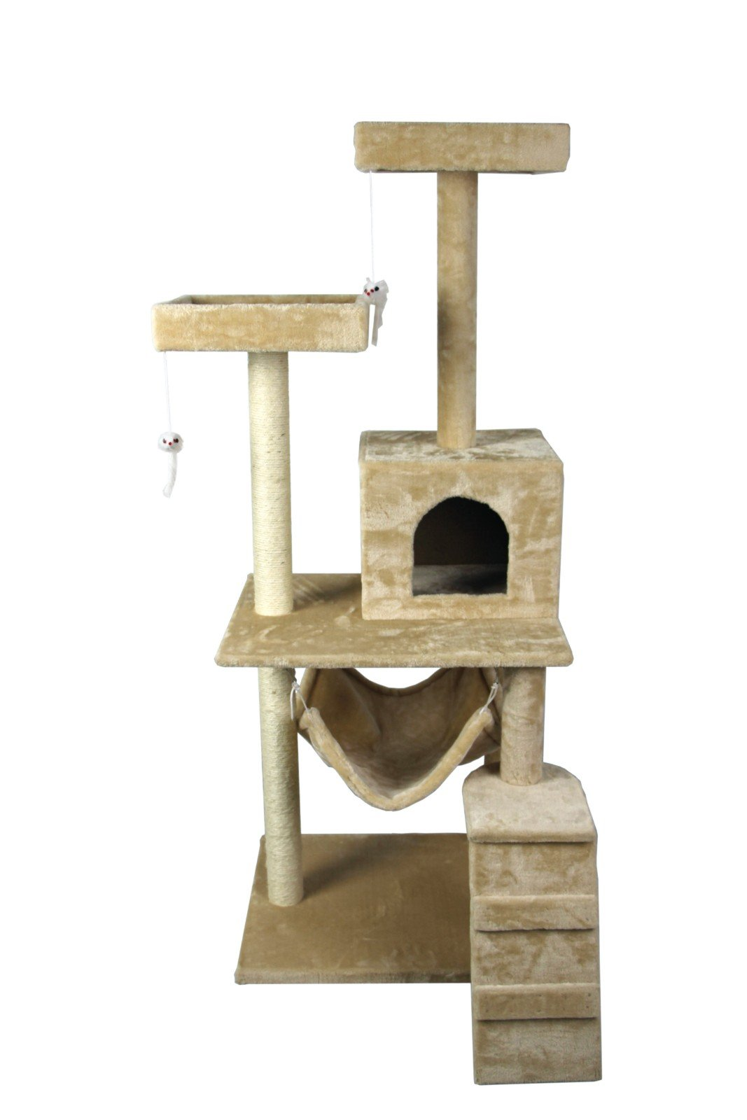 Hiding Nice Cat Tree Tower Condo Furniture Scratch Post Kitty Pet House Play Furniture Sisal Pole Stairs and Hammock, 29.92'' L, Beige by Hiding (Image #4)