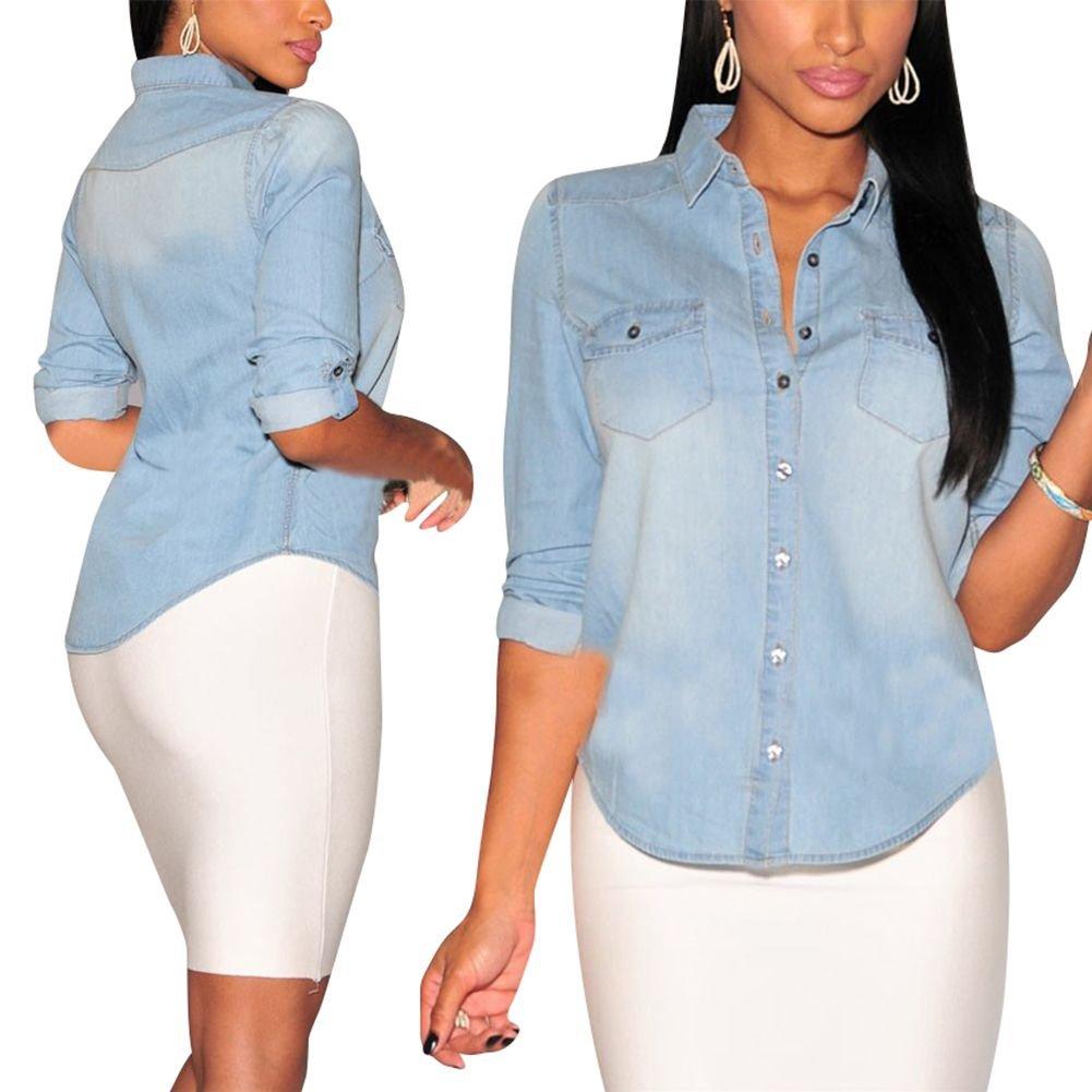 84db8413fbb ROPALIA Womens Fitted Long Sleeve Jean Denim Coat Shirt Blouse Classic  Lapel Tops Light Blue XXL at Amazon Women's Clothing store: