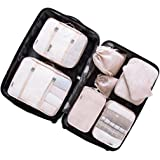 Packing Cubes for Travel - 8 Sets Luggage Organiser Storage Bags Suitcase Compression Pouches (Beige)
