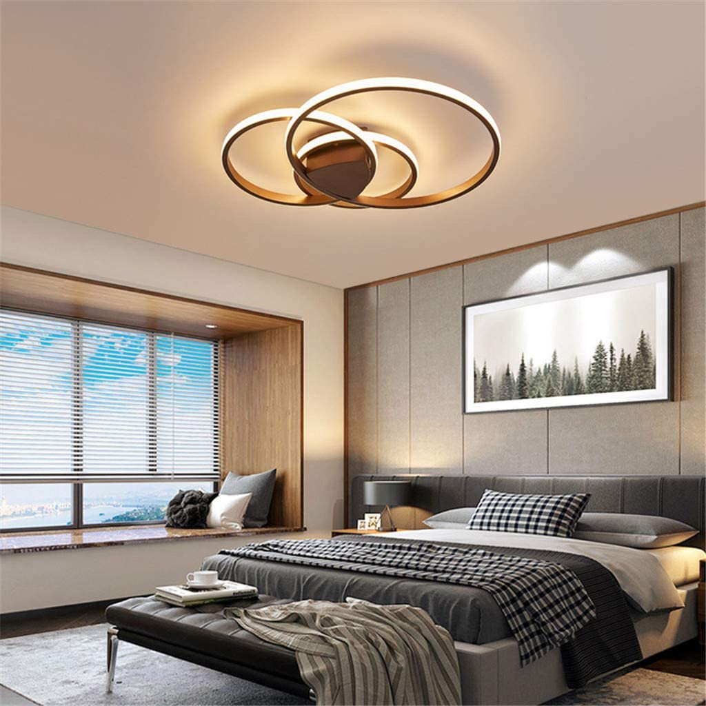Acryl Deckenleuchte schmiedeeiserne runde Wohnzimmerlampe LED Modern Design Deckenlampe Metall Kronleuchter f/ür Esszimmer K/üche Schlafzimmer Bad Decke Leuchten,Braun,24WOnecircle